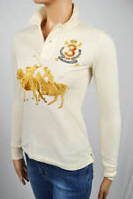 RALPH LAUREN CREAM BIG GOLD PONY MATCH CREST SKINNY FIT RUGBY POLO NWT XS