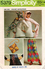 1970's VTG Simplicity Crochet Instructions for Scarf-Hood,Skirt,Bag Pattern 5379