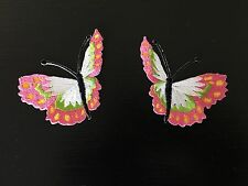 Sew on & iron on  patches(butterfly pair-white and pink)