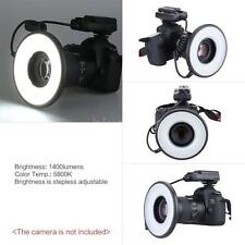 Macro LED Ring Flash Light Lens Dimmable 14W for Nikon Canon DSLR Camera IP3V