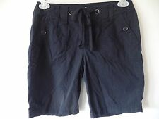 St. Johns Bay Womens 8P Black Cotton Bermuda Shorts Button & Drawstring Waist