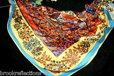 """100% Pure Silk Scarf 140x140cm Creative-Art*Thick+Lush""""Country Collection04*BR"""
