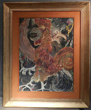 Vintage Modern Abstract Expressionist Painting Rooster Cockfight Chickens
