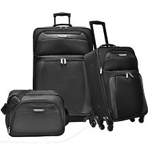 Travelers Choice Ultimate Black 3pc Expand Spinner Luggage Tote Bag Suitcase Set