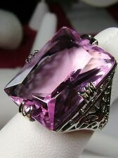 30ct Big*Pink Topaz* Solid Sterling Silver Vintage Design Filigree Ring Size 7.5