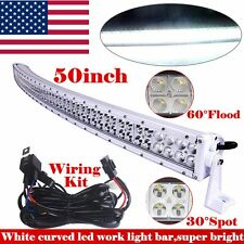 50inch LED Work Light Bar White Curved Flood Spot Combo Truck Off Road Jeep 52
