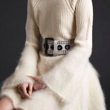 MCQ ALEXANDER MCQUEEN SZ SMALL WHITE CRACKLED WIDE WAIST CORSET DRESS BELT