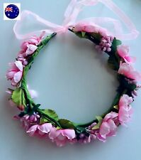 Women Girl baby BOHO Beach wedding Pink Flower Hair head Headband Prop Garland