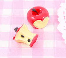 4 x Red Apples Bitten Apple 3D Cabochons Decoden Kawaii Embellishments