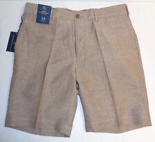 Hart Schaffner Marx Size 38 FLAT FRONT Brown Khaki Linen Wool Shorts New Mens