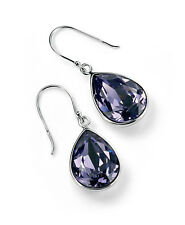 Sterling Silver Tanzanite Swarovski Elements Crystal Teardrop Earrings