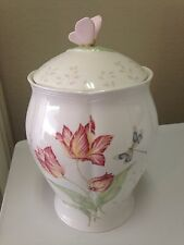 "Lenox Butterfly Meadow Large Canister Bees Dragonfly Pink Flowers 11"" China"