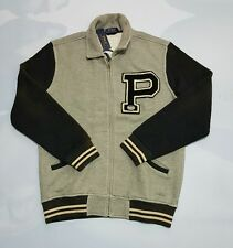 Ralph Lauren Polo Gray Varsity Cotton & Wool Indian Head Sweater Jacket (LARGE)