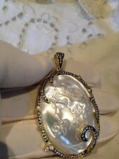 Vintage Real Mother Of Pearl Cameo Crystal 925 Sterling Silver Pendant Choker