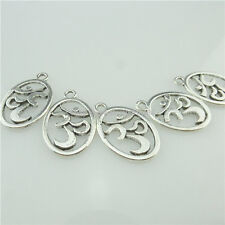 14916 35x Antique Silver Yoga Namaste Om Aum Buddhist Yoga Ohm Pendant Connecter