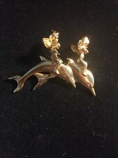 Signed Kirks Folly Dolphin Cherub Angel Gold Tone Brooch Dangle Seahorse Rhinest