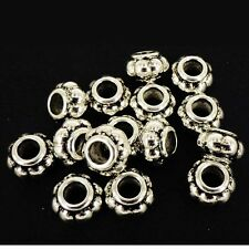 50 x CCB Plastic Silver Spacer Beads Large Hole 13x8mm Doughnut NP23