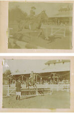Edwardian Horse Show Jumping Event - 2x Antique Photographs c1905