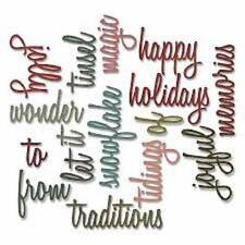 Sizzix HOLIDAY WORDS SCRIPT 2 Thinlits Dies Tim Holtz Alterations