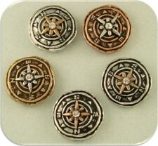 2 Hole Beads Compass 3T Travel Map Globe Silver Copper Gold~ Metal Sliders Qty 5