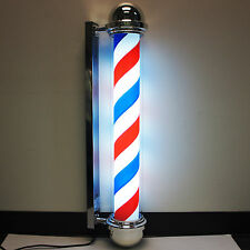 Tall Classic Red White Blue Stripe Spinning Barber Shop Pole Hair cut sign Light