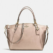 COACH SMALL KELSEY SATCHEL IN METALLIC LEATHER WITH EXOTIC TRIM NWT