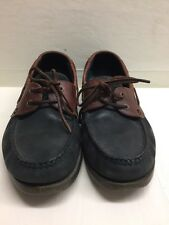 Clarks Boat Shoe Blue Leather Brown Size 8 1/2 US