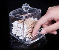 Clear ABS Cosmetic Cotton Swabs Stick Holder Bin Storage Organizer Container Box