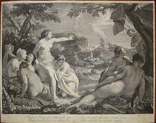 stampa antica old print wagner Bellucci Diana Atteone Ninfe Venezia 1760 gravure