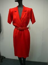 VINTAGE WOMENS ST JOHN RED KNIT SHORT SLEEVE DRESS SIZE 2 ~ NEW WITH TAGS! $495