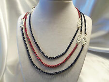 "FUNKY COOL Design RED, WHITE & BLUE Enameled Chain w/Accents 54"" Necklace 14N036"