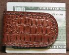 Handcrafted Brown Alligator Grain Print Leather Magnetic Money Clip