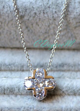 18K White Gold GP Silver Swarovski Crystal Small Cross Fine Chain Necklace