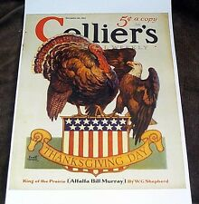 THANKSGIVING DAY COLLIERS MAGAZINE COVER REPRINT TURKEY EAGLE CONTROVERSY 1931