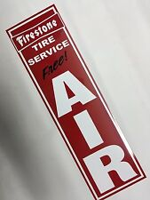 Firestone,Tire,Service,Free,Air,Sign,on, Red Aluminum,Metal,Approx. 6x21in.