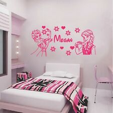 Wall Decal Girls Disney Frozen Elsa and Anna Room Vinyl Personalised Name Color