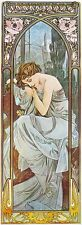 NOCTURNAL SLUMBER, 1899 Alphonse Mucha Reproduction Rolled CANVAS PRINT 17x39 in