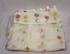 Pottery Barn Kids Cotton Sheer White Curtain Panels Floral Appliques (2) 44 x 96