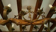 massive French 8 light pendant iron & antique oak rustic gothic chandelier yoke