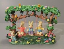 Bunnies Swinging on Tree Branches with Birds, Easter Eggs and Flowers Figurine