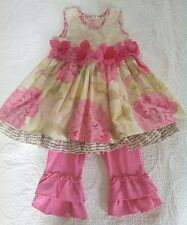 Beautiful   Giggle Moon dress pink double ruffle leggings set 2t/3t 4t *READ*