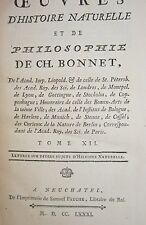 1781 Charles Bonnet Oeuvres D'histoire Naturelle et De Philosophie histoire