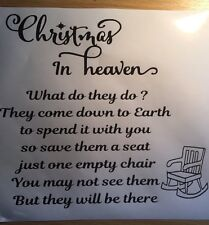Christmas In Heaven What Do They Do ? Vinyl  Decal/ Sticker Ribba Frame/  Block