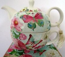 TEA FOR ONE TEAPOT SET BUTTERFLY DESIGN IN MATCHING GIFT BOX BEAUTIFUL GIFT
