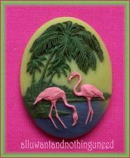 2 Unset 3/D PINK FLAMINGOS & PALM TREES 40mm x 30mm Costume Jewelry Craft CAMEOS