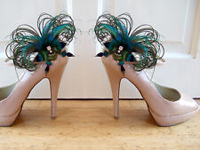 "Bridal Peacock Feathers Butterfly Blue Green Shoe Clips ""Sophia"" 1 x PAIR"
