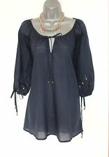 *MONSOON*Navy Cotton Blend Embellished 3/4 Sleeves Tie Neck Kaftan Tunic Top S