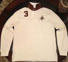 Ralph Lauren Polo Rugby Long Sleeve Shirt Leather Accents Cream Sz Medium New
