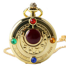 Girl Gift Sailor Moon Gold Moon Pocket Watch Quartz Collection Cosplay Necklace