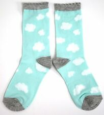 LADIES FLOATING CLOUD DESIGN PASTEL AQUA BLUE / GREEN SOCKS ONE SIZE